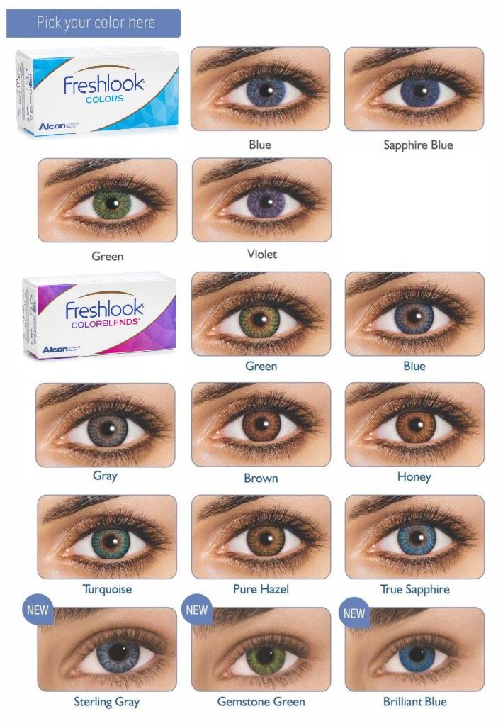 Freshlook Colour contact lens colour chart